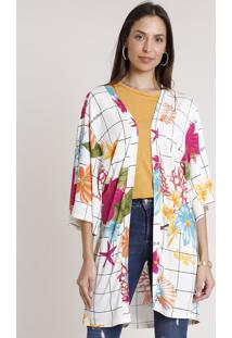 Kimono Feminino Estampado Fundo Do Mar Manga 3/4 Off White