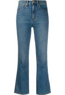 Tory Burch Calça Jeans Flare Cropped - Azul