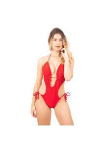 Maiô Feminino Levanta Bumbum Bojo Serra E Mar Modas Liso Vermelho