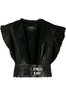 Isabel Marant Frilled-Sleeve Harness Jacket - Preto