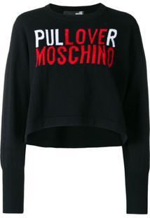 Love Moschino Suéter Com Logo - Preto