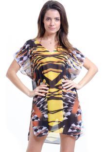 Blusa 101 Resort Wear Tunica Decote V Crepe Estampa Grafismos Amarelo E Preto