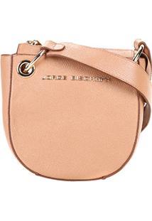 Bolsa Couro Jorge Bischoff Mini Bag Transversal Argolas Feminina - Feminino-Caramelo