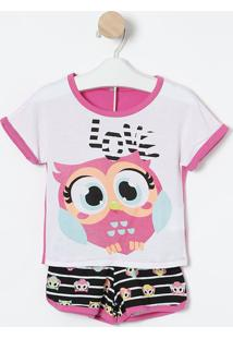 "Short Doll Coruja ""Love""- Pink & Preto- Puketpuket"