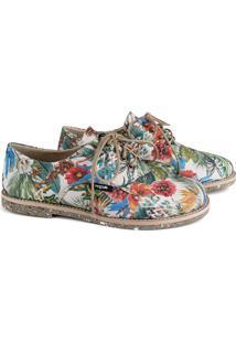 Sapato Oxford Feminino Vegano Estampado Tropical Conforto Verde - Kanui