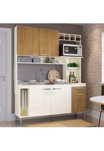 Cozinha Compacta 5 Portas 1 Gaveta Flora Casamia Champagne/Freijó