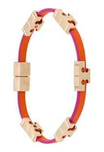 Tory Burch Bracelete Com Logo - Rosa