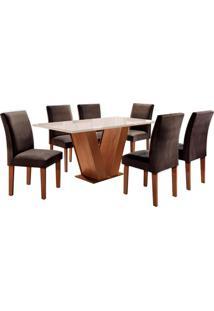 Conjunto De Mesa De Jantar Com 6 Cadeiras Classic Ll Suede Off White E Marrom