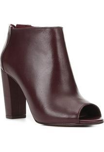 Sandal Boot Couro Shoestock Salto Alto Feminina - Feminino-Vinho