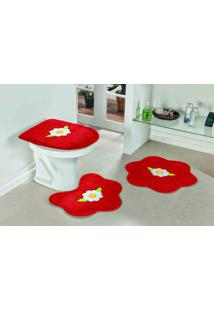 Tapete Jogo Banheiro Formato Margarida Vermelho