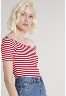 Blusa Feminina Básica Listrada Manga Curta Decote Ombro A Ombro Vermelha