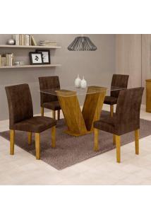 Conjunto De Mesa De Jantar Com 4 Cadeiras Classic Veludo Ypê E Marrom
