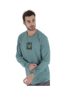 Camiseta Manga Longa Hang Loose Logarmy - Masculina - Azul/Cinza