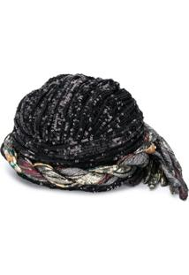 Saint Laurent Sequin-Embellished Braided Hat - Preto