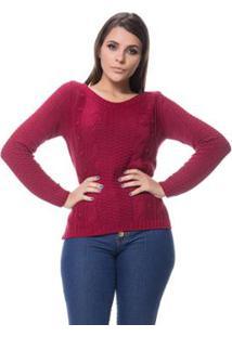 Blusa Tricot Gola Redonda Alto Relevo Dia A Dia Feminina - Feminino-Bordô