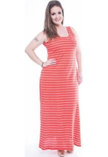 Vestido Plus Size Listrado Mirasul - Feminino-Laranja