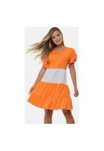 Vestido Manola Curto Fabiana Mix Laranja Multicolorido