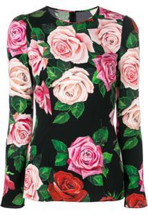 Dolce & Gabbana Blusa De Seda Floral - Preto