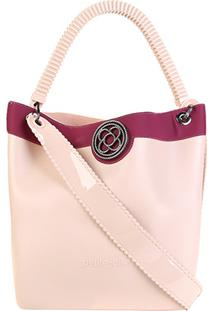 Bolsa Petite Jolie Shopper City Bag J.Lastic Ruber Feminina - Feminino-Vinho+Bege