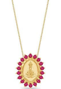 Pingente Nossa Senhora Ouro Rosé E Rubis 12 Mm