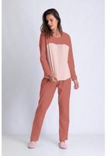 Conjunto De Pijama Acuo Longo Levíssima Feminino - Feminino-Nude
