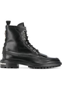 Toga Virilis Ankle Boot Com Cadarço E Franjas - Preto