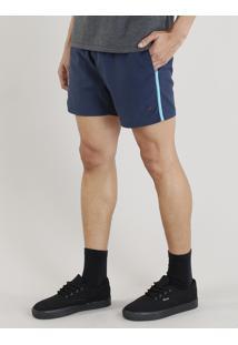 Short Masculino Com Vivo Contrastante Azul Marinho