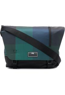 Ps Paul Smith Bolsa Com Placa De Logo E Padronagem Xadrez - Azul