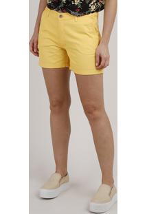 Short De Sarja Feminino Midi Amarelo