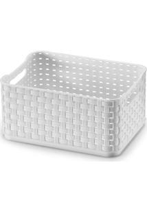 Caixa Organizadora Em Rattan 520Ml Branca
