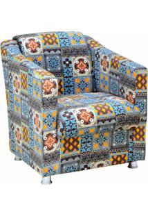 Poltrona Decorativa Lymdecor Laura Azul Cinza
