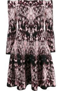 Alexander Mcqueen Off-Shoulder Printed Dress - Rosa