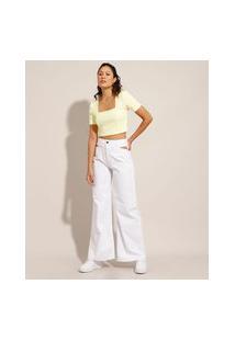 Calça Wide Pantalona De Sarja Com Vazado Cintura Super Alta Branca