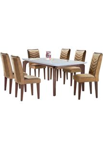 Conjunto De Mesa Para Sala De Jantar Com 6 Cadeiras Mel-Rufato - Animalle Chocolate / Off White / Café
