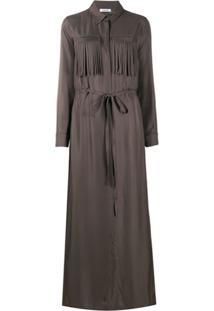 P.A.R.O.S.H. Vestido Com Bolso E Amarração Na Cintura - Cinza
