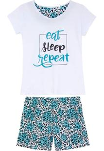 Shortdoll Kalm 100% Algodão Eat Sleep Repeat