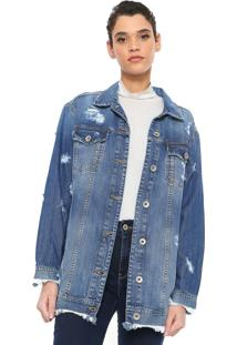 Jaqueta Jeans Colcci Oversized Destroyed Azul