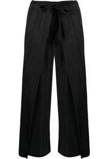 Pleats Please Issey Miyake Calça Pantalona Cintura Alta - Preto