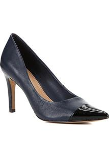 Scarpin Couro Shoestock Salto Alto - Feminino-Marinho+Preto