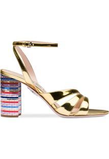 Miu Miu Sandália Metalizada De Couro Com Salto Em Mosaico - Dourado
