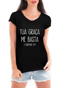 Blusa Criativa Urbana Tua Graça T-Shirt Feminina - Feminino-Preto