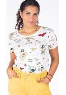 Camiseta Manga Curta Mulher Maravilha Besni Feminina - Feminino-Off White