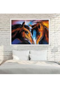 Quadro Love Decor Com Moldura Cavalos Branco Grande