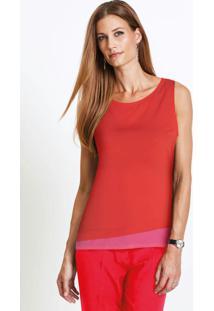 Blusa Sem Mangas Com Barra Dupla Vermelha