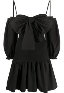 Redvalentino Bow-Detail Poplin Dress - Preto
