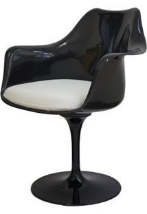 Cadeira Saarinen Preto Com Braco (Almofada Branca) - 15050 Sun House