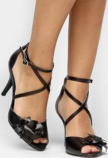 Sandália Couro Shoestock Salto Fino Flor Feminina