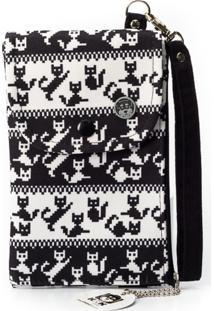 Carteira Kmk Brasil Porta Celular Cats Preta