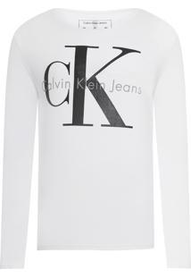 Camiseta Masculina Ckj Mi Lm - Branco