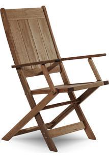 Cadeira Dobrável Gourmet De Madeira Para Piscinas Com Braços Acqualung+ Nogueira